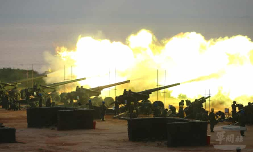 Taiwanese tanks take part in a live-fire drill on Kinmen Island in the Taiwan Strait on 8 September.