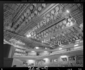 Looking up from the stage at the original acoustic features in the Concert Hall (Nov 1979)