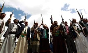 Houthi rebels in Yemeni capital Sana'a on 17 April 2016.