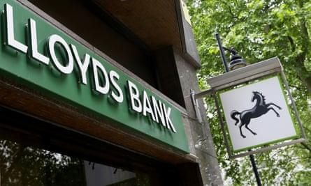 Lloyds Bank logo at a branch in London