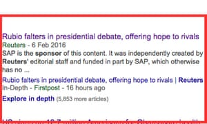 Google search listing reveals sponsorship of Reuters news story.