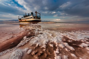 End Floating by Saeed Mohammadzadeh, a ship sitting in salt in the Urmia Lake in Iran