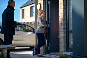 Nicola Sturgeon speaking to a resident on the doorstep in Dumbarton, West Dunbartonshire, while campaigning today.