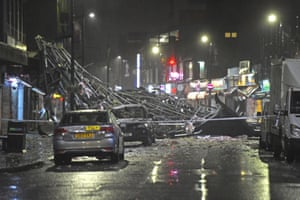 Slough high street after a roof was blown off a building