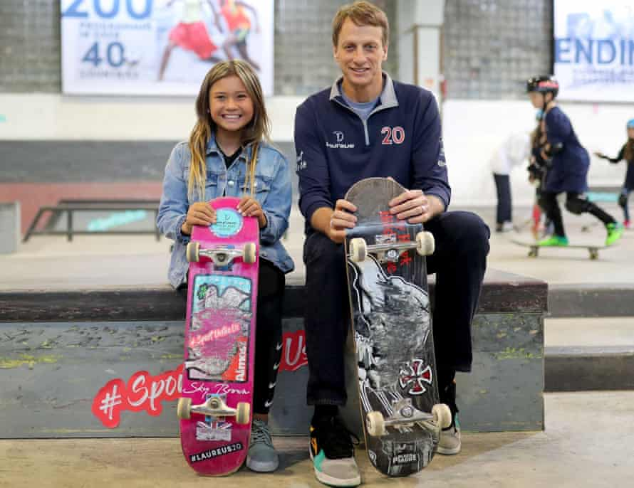 Sky Brown and skateboarding legend Tony Hawk