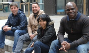 Left to right: Tarquin, Jordan, Hana and Tony sitting on steps outside Beam's office in east London