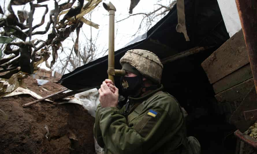 A Ukrainian soldier on the frontline with Russia-backed separatists in Donetsk region, 12 April 2021.