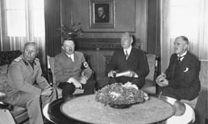 The flowers at the center of this photograph of Mussolini, Hitler and Chamberlain, taken at the 1938 Munich conference, caught Simon's eye.