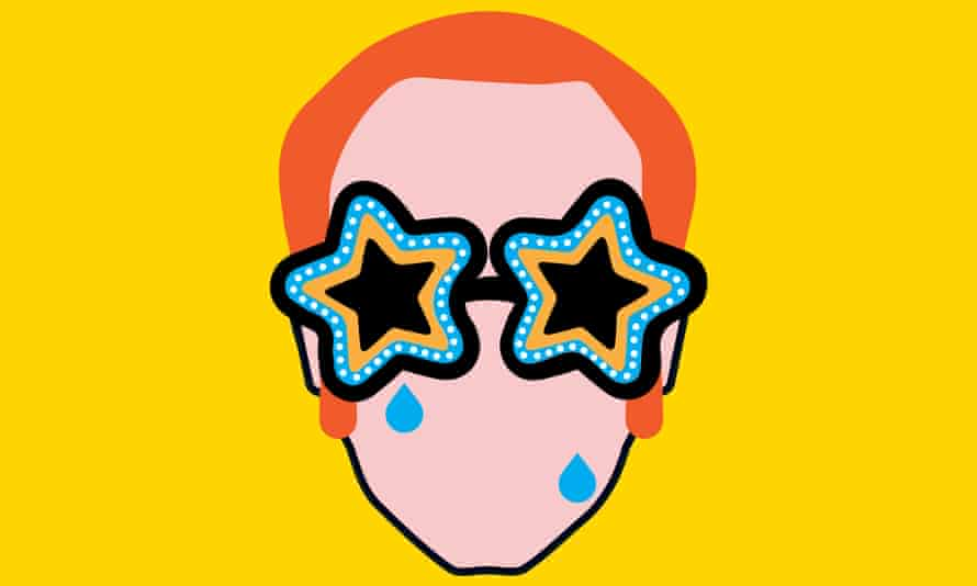 an illustration of elton john's head from the 1970s complete with star sunglasses