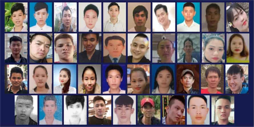 The 39 Vietnamese migrants who suffocated as they were being smuggled across the Channel in a sealed refrigeration trailer.