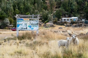 A billboard in Santiago de Okola welcomes visitors to 'The House of the Dragon', the large rock formation that is one of the town's main tourist attractions.