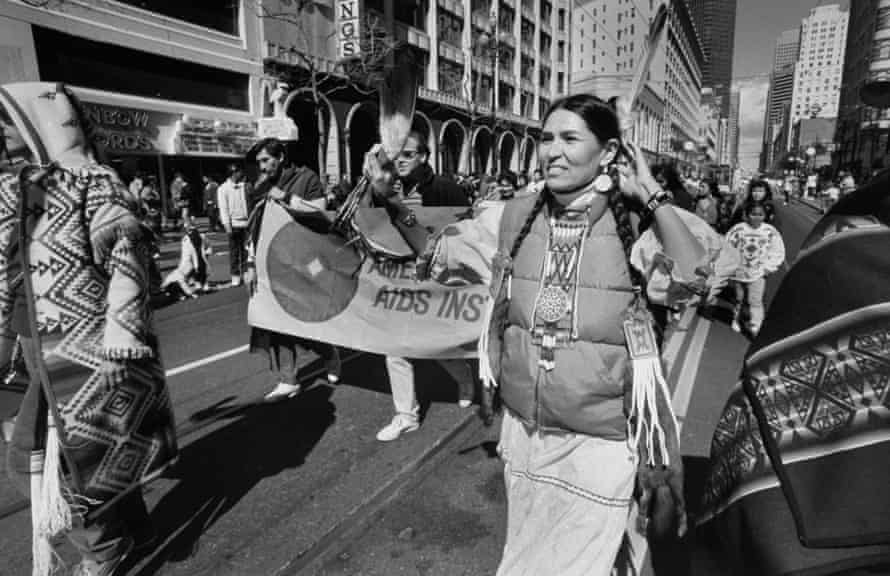 Littlefeather campaigning on the streets of San Francisco, c. 1990.