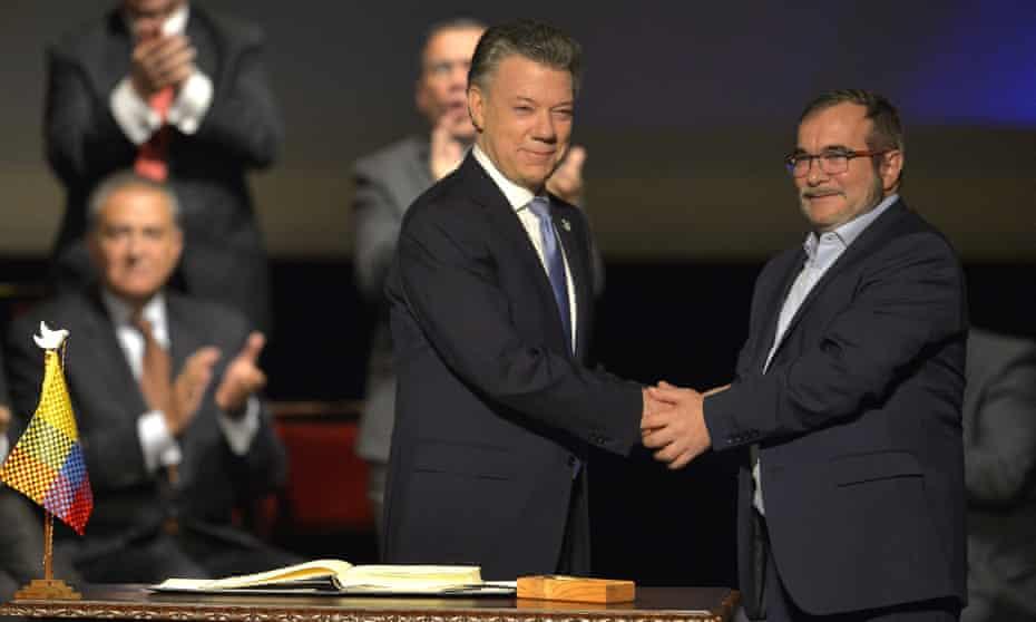 Juan Manuel Santos and Timochenko