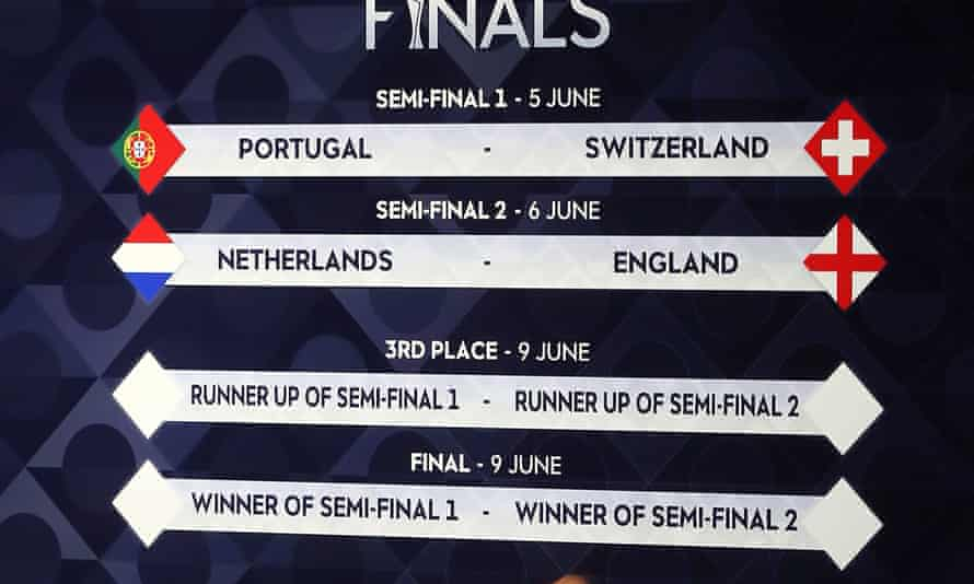 A general view of the draw for the finals during the Uefa Nations League finals draw at the Shelbourne Hotel, Dublin