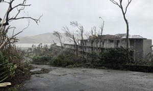 Damaged trees and buildings on Hamilton Island