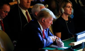 Donald Trump at the UN Climate Action Summit in September 2019: 'The US set out a harsh starting position: it will not discuss the climate crisis or include the term in any deal.'