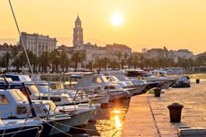 The sun rises over Split waterfront, Dalmatia, Croatia.