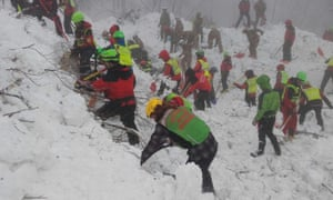 Rescue operations continue at Hotel Rigopiano on Sunday, four days after the avalanche