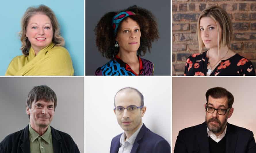 Clockwise, from top left: Hilary Mantel, Bernardine Evaristo, Torrey Peters, Richard Osman, Yuval Noah Harari, Ian Rankin.