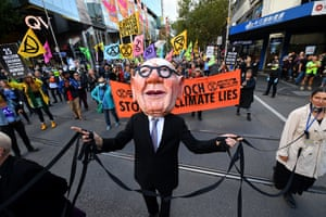 An Extinction Rebellion environmental protest against Rupert Murdoch and News Corporation in Melbourne on 25 March.