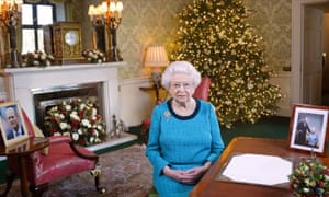 The Queen in the Regency Room at Buckingham Palace after recording her Christmas Day broadcast to the Commonwealth last year.