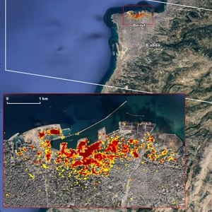 A map created using satellite data shows the extent of likely damage following the huge explosion in Beirut. Dark red pixels represent the most severe damage. Areas in orange are moderately damaged, and areas in yellow are likely to have some damage. Each pixel represents an area of 30 sq m