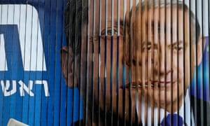 Benjamin Netanyahu (right) and Isaac Herzog on billboard