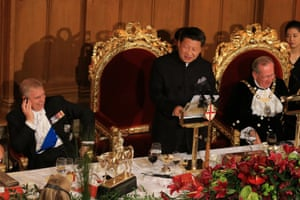 China's president Xi Jinping makes a speech at a banquet at the Guildhall in London.