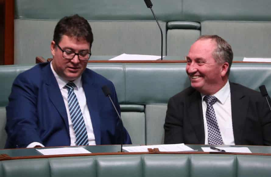 George Christensen (left) and Barnaby Joyce in the House of Representatives.