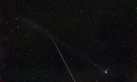 Where, when and how to watch the 2020 Eta Aquarids meteor shower in Australia. A photograph of an Eta Aquarids meteor taken from Toowoomba, Queensland, 4 May 2020. The bright object to the right is Comet Swan. The picture was taken on an 82mm lens with a one minute exposure.