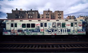A New York subway train photographed in the Bronx by Jon Naar, 1973