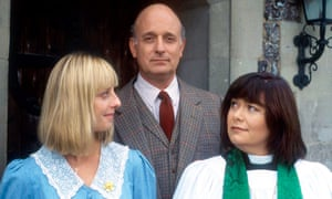 Emma Chambers, left, with Gary Waldhorn and Dawn French in The Vicar of Dibley.