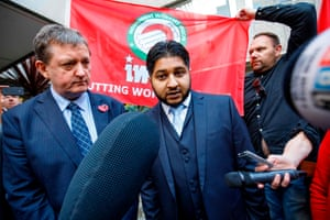 Former Uber drivers James Farrar and Yaseen Aslam addressing the media as they left the Employment Appeals Tribunal in central London.