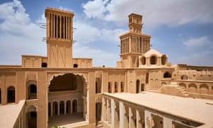 The town of Aberkooh and its recently restored palace. Iran.