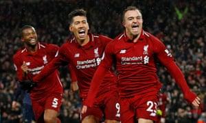 Shaqiri celebrates scoring Liverpool's third against Manchester United.