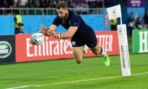 A flying Tommy Seymour touches down for Scotland's sixth try.