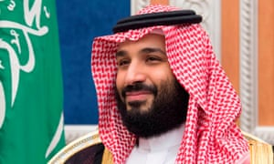 Crown prince Mohammed bin Salman during his meeting with Mike Pompeo