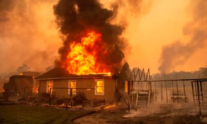 A home burns at a vineyard during the Kincade fire near Geyserville, California, on 24 October 2019.