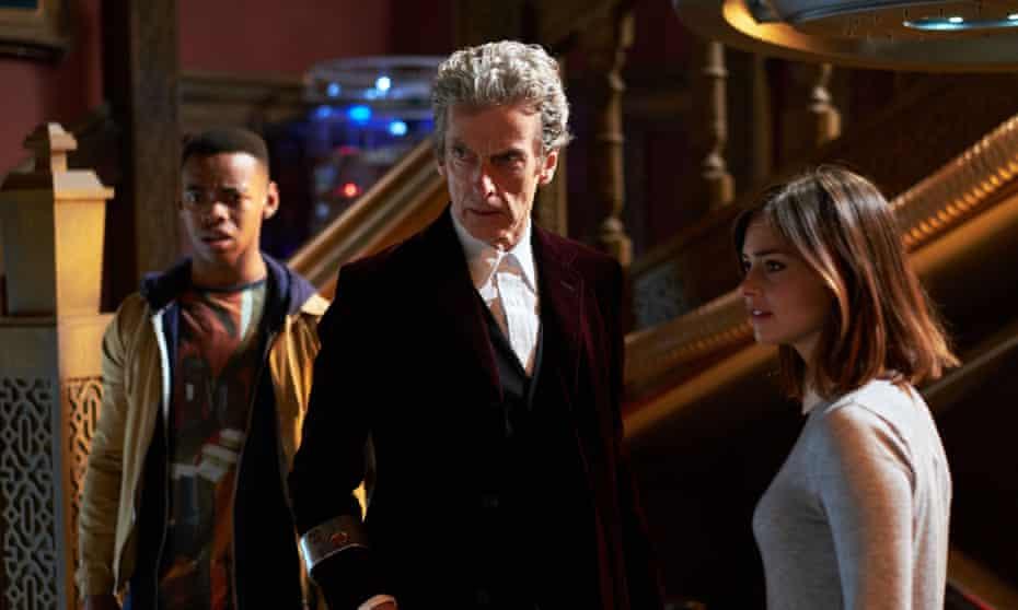 Rigsy (Joivan Wade) The Doctor (Peter Capaldi) and Clara (Jenna Coleman).