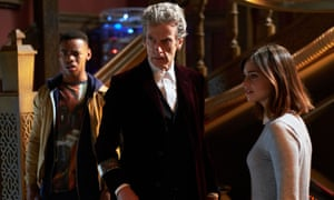 Peter Capaldi with Jenna Coleman and Joivan Wade