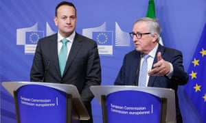 Leo Varadkar (left) and Jean-Claude Juncker at their press conference in Brussels.