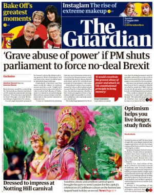 Guardian front page, Tuesday 27 August 2019