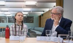 Swedish climate activist Greta Thunberg meets Jeremy Corbyn on 23 April.