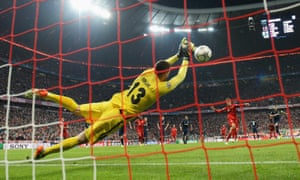 Atlético Madrid's Jan Oblak saves a penalty from Thomas Müller of Bayern Munich during the Champions League semi-final.