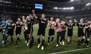 Ajax's 19-year-old captain Matthijs de Ligt (centre) leads the celebrations after knocking Juventus out of the Champions League.