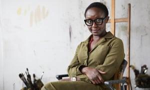 Artist Lynette Yiadom-Boakye in her studio, Hackney.