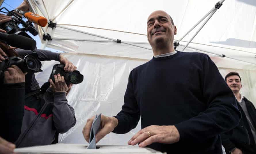 Zingaretti casts his ballot in Rome.