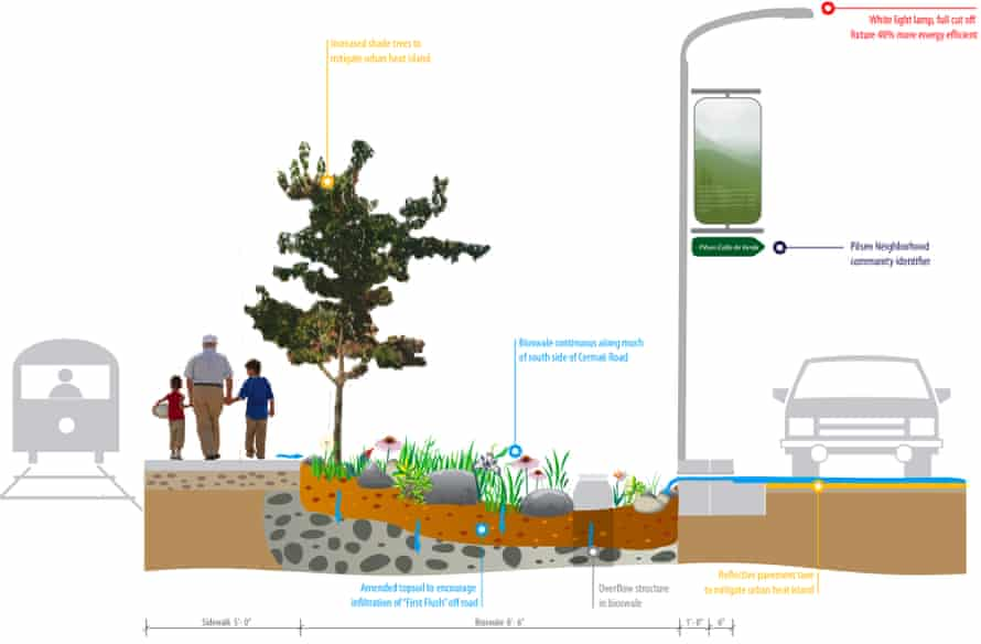The bioswale, an environmentally-friendly form of drainage through landscape, at the Pilsen Sustainable Street on Cermak Rd.