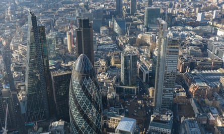 An aerial view of London's Square Mile financial district.