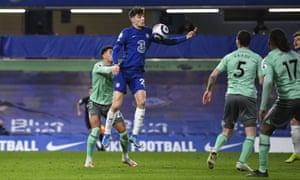 Kai Havertz of Chelsea controls the ball with his arm in the build up to his disallowed goal.